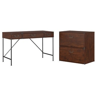 kathy ireland Office Ironworks 48W Writing Desk and Lateral File Cabinet