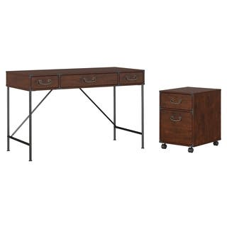 kathy ireland Office Ironworks 48W Writing Desk and 2 Drawer Mobile Pedestal|https://ak1.ostkcdn.com/images/products/14037826/P20655141.jpg?impolicy=medium