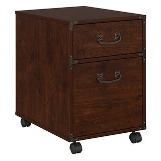 kathy ireland Office Ironworks Coastal Cherry 2-drawer Mobile Pedestal