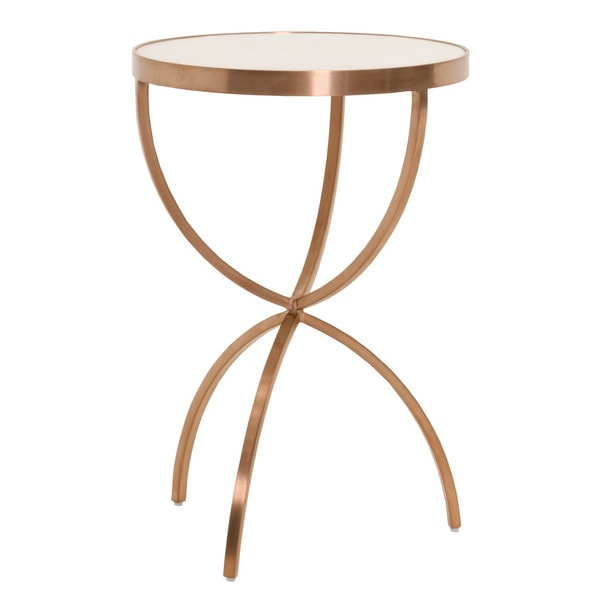 Gray Manor Mia Brushed Rose Gold Accent Table