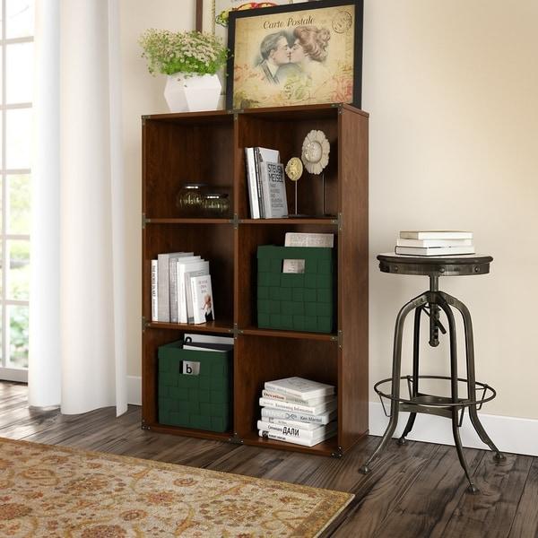 Kathy Ireland Office Ironworks 6 Cube Bookcase In Coastal Cherry