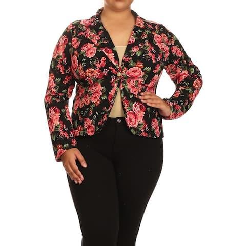 Women's Plus Size Floral Blazer Jacket