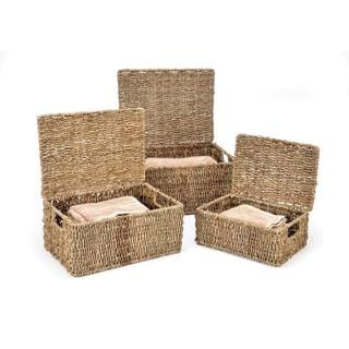 Set of 3 Rectangular Seagrass Baskets with Lids by Trademark Innovations