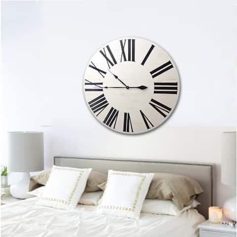 Copper Grove Cranesbill White Wood Farmhouse Clock