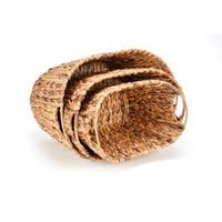 Set of 3 Oval Hyacinth Baskets with Iron Wire Frame by Trademark Innovations
