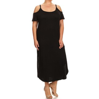 Women's Rayon and Spandex Plus-size Solid Shoulder Cutout Dress