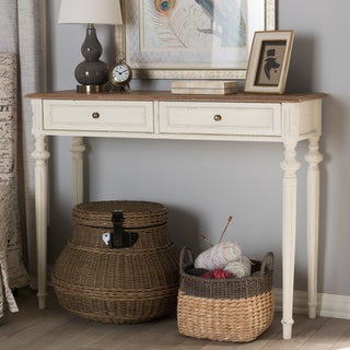 The Gray Barn Keene French Provincial Weathered Oak and Whitewash Console Table
