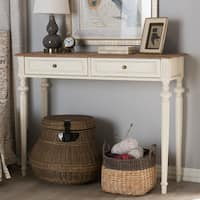 Maison Rouge Lascelles French Provincial Weathered Oak and Whitewash Console Table