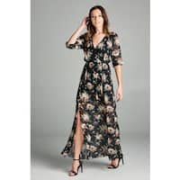 Spicy Mix Women's Amara Surplice Front Floral Chiffon Maxi Dress