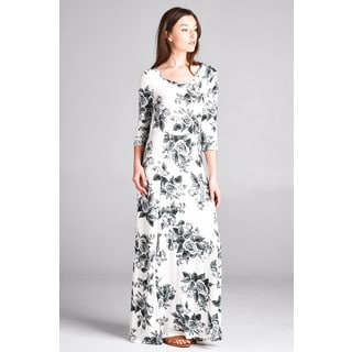 Spicy Mix Women's Calla Floral 3/4-sleeve Keyhole Back Maxi Dress