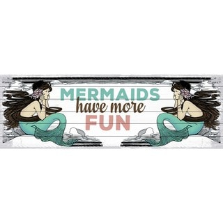 Marmont Hill - Handmade Mermaid Painting Print on White Wood