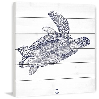 Marmont Hill - Handmade Blue Turtle Painting Print on White Wood