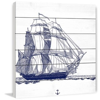 Marmont Hill - Handmade Blue Ship Painting Print on White Wood