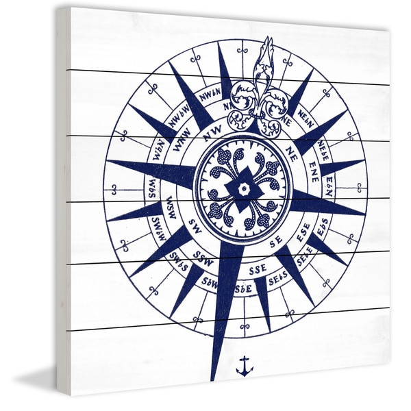 Marmont Hill - Handmade Blue Compass Painting Print on White Wood