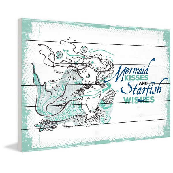 Marmont Hill - Handmade Mermaid Kisses 2 Painting Print on White Wood