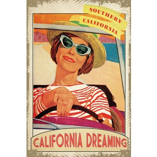 Marmont Hill - 'Travel Poster California' Painting Print on Wrapped Canvas - Pink