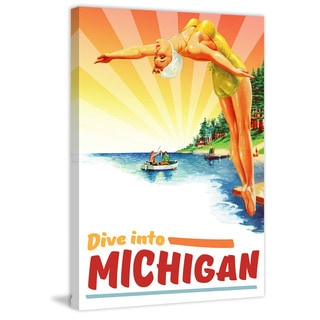 Marmont Hill - 'Travel Poster Michigan' Painting Print on Wrapped Canvas