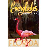 Marmont Hill - 'Travel Poster Everglades' Painting Print on Wrapped Canvas - Pink