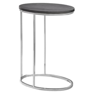Oval Grey with Chrome Metal Accent Table