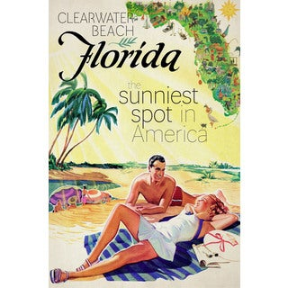 Marmont Hill - 'Travel Poster Florida' Painting Print on Wrapped Canvas