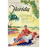 Marmont Hill - 'Travel Poster Florida' Painting Print on Wrapped Canvas - Yellow