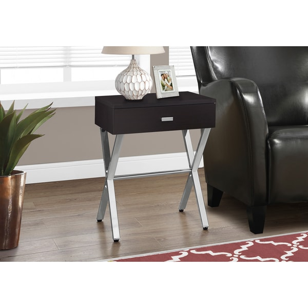 Cappuccino Chrome Metal Accent Table Nightstand Free