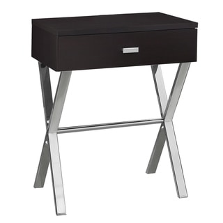 Cappuccino Chrome Metal Accent Table/ Nightstand