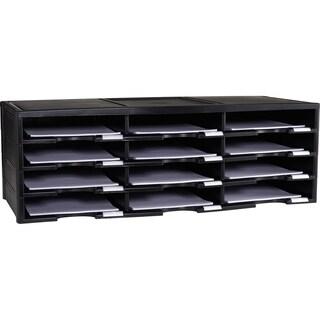 Storex Black Plastic 12-compartment Literature Organizer/Document Sorter