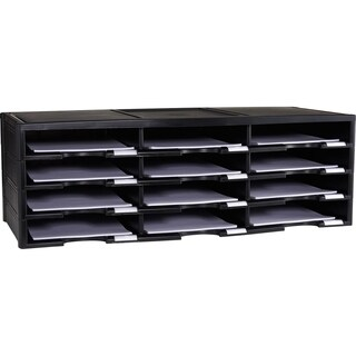 Storex Black Plastic 12-compartment Literature Organizer/Document Sorter|https://ak1.ostkcdn.com/images/products/14038340/P20655571.jpg?_ostk_perf_=percv&impolicy=medium
