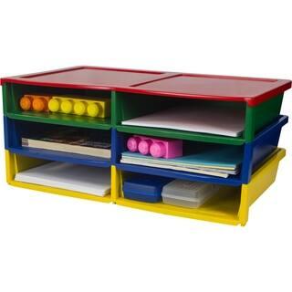 Storex Multicolored Plastic Quick Stack 6-compartment Organizer|https://ak1.ostkcdn.com/images/products/14038346/P20655570.jpg?impolicy=medium