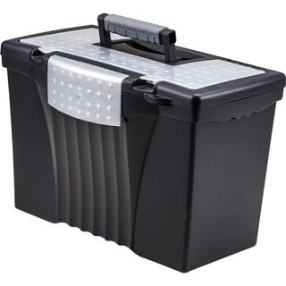 Wonderful Storex Portable File Box With Organizer Lid,Letter/Legal,Black Color.