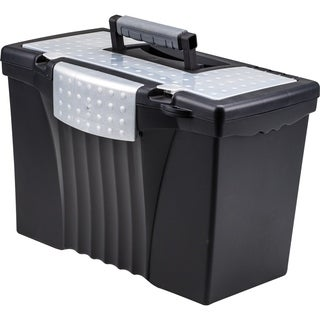 Storex Portable File Box With Organizer Lid,Letter/Legal,Black Color.