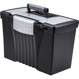 Storex Black Portable Letter/Legal File Box With Organizer Lid