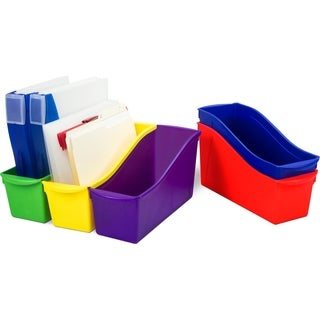 Storex Large Book Bins with Front Pockets,Assorted Plastic (6 units/pack)