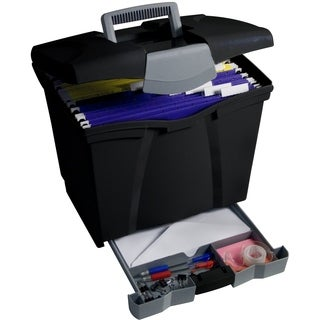 Storex Black Portable File Box with Drawer