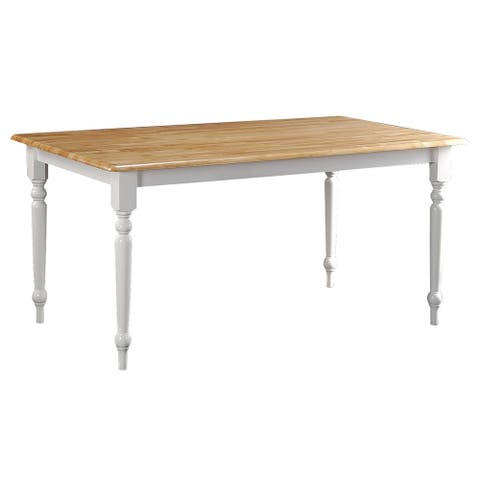 Boraam Ind. Farmhouse Collection White Wood Rustic Kitchen and Dining Table