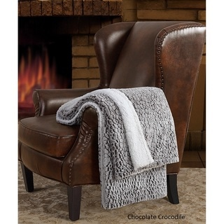 London Fog Carved Faux Fur Reversing to Sherpa Throw