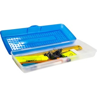 Storex Blue Plastic Stretch Pencil Case (Pack of 12)