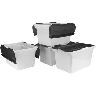Storex Frost and Black Plastic Flip-top Storage Tub (Pack of 4)