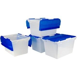 Storex Frost Blue Plastic Flip-top Storage Tub (Pack of 4)