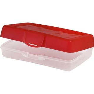 Storex Red/Clear Plastic Pencil Case (Box of 12)