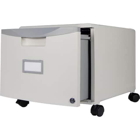 Storex 1-drawer Mini File Cabinet + Lock & Casters/Grey