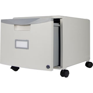 Storex Grey 1-drawer Mini File Cabinet with Lock and Casters
