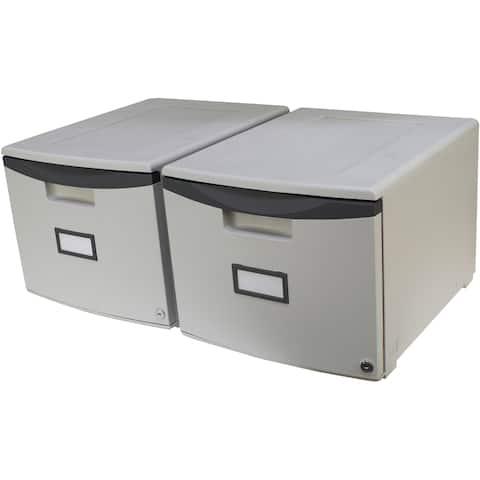 Storex Single-Drawer Mini File Cabinet + Lock /Grey /Durable Plastic