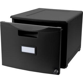 Storex Black 1-drawer Mini Locking File Cabinet