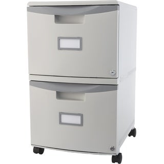 Storex 2-Drawer Mobile File Cabinet + Lock & Casters / Grey