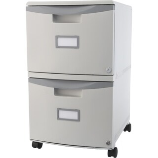 Storex Grey 2-Drawer Mobile File Cabinet w Lock and Casters.
