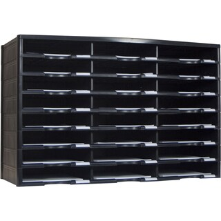 Storex Black 24-Compartment Literature Organizer
