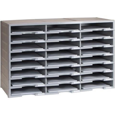 Storex 24-Compartment Literature Organizer/ Gray