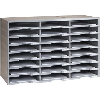 Storex Grey Plastic 24-compartment Literature Organizer
